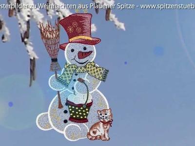 Plauener Spitze Fensterbilder zu Weihnachten im Online Shop www.Spitzenstuebl.de