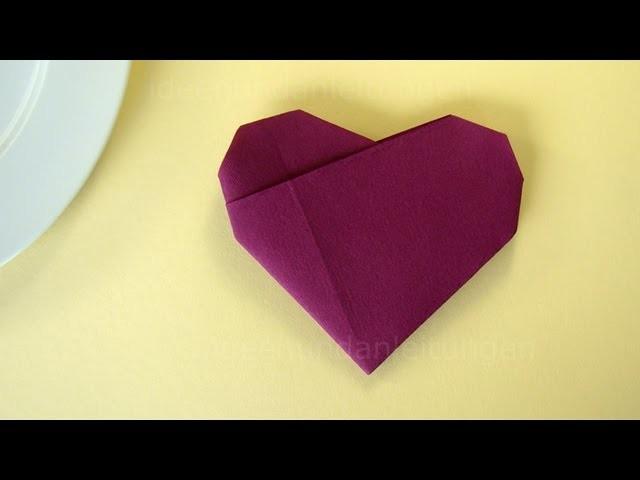 servietten falten herz einfache tischdeko f r hochzeit geburtstag selber machen. Black Bedroom Furniture Sets. Home Design Ideas