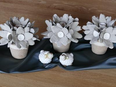 Blumen einfach basteln (flowers easy to make) aus Eierkarton, Wohn- und Tischdeko