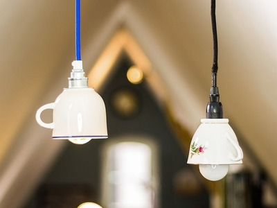 DIY Lampe: Design Lampe aus Tassen, Tassenlampe selbst gemacht