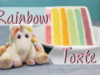 RAINBOW CAKE mit Fondant EINHORN - Regenbogentorte backen - Geburtstagstorte selber machen - Unicorn