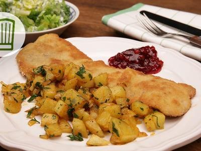 Schnitzel mit schnellen Bratkartoffeln Rezept #chefkoch
