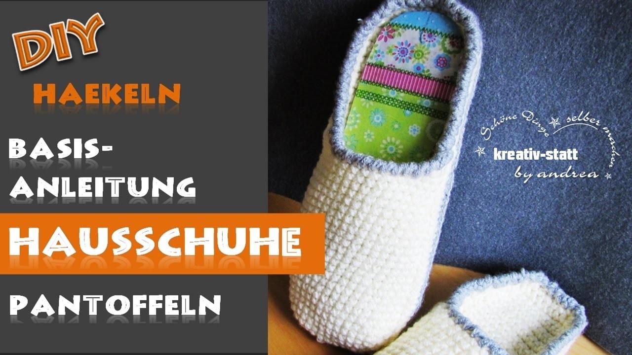 diy h keln basisanleitung hausschuh pantoffel crochet basic pattern slippers. Black Bedroom Furniture Sets. Home Design Ideas