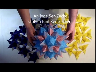 Faltanleitung für einen Rhombo-Stern (Rhombo star, Origami folding instruction)