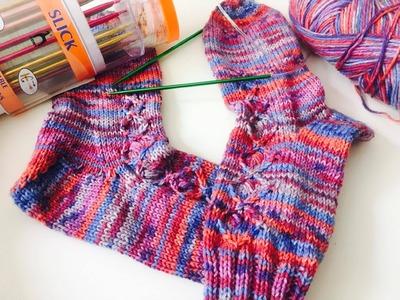 2 Socken gleichzeitig stricken - anschlagen und das Bündchen stricken