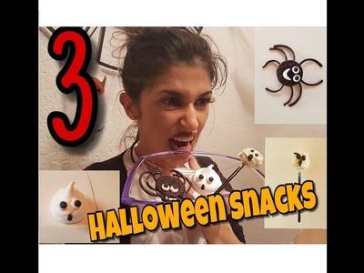 3 Halloween SNACK Ideen einfach & schnell selber machen   DiY Tutorial Anleitung Halloween Snacks