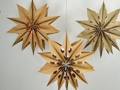 DIY - XXL Sterne basteln I aus Biomülltüten I mit LED-Lichterkette I 3 Gestaltungsvarianten I How to