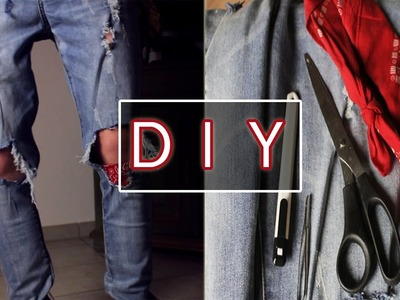 DIY ! TUCH IN ZERRISSENE JEANS NÄHEN  | Jemand