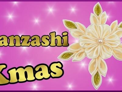 DIY xmas Kanzashi | Weihnachten | Schneeflocken aus Satinband basteln | Christmas Ribbon snowflakes