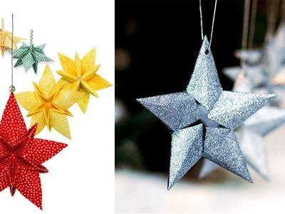 DIY Christbaumschmuck selber machen Origami-Sterne | Weihnachtsschmuck in Form von Origami-Sternen