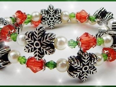 DIY xmas | Perlenarmband für Weihnachten basteln | christmas beaded memory wire bracelet
