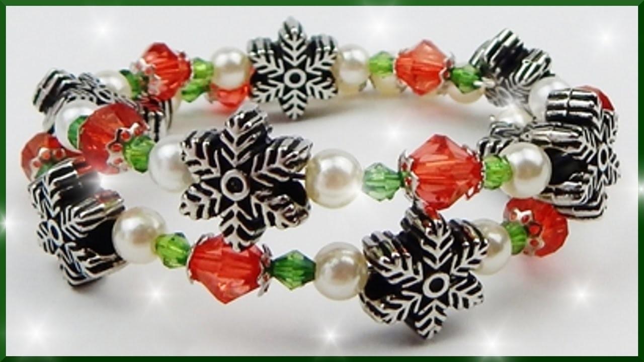 Diy xmas perlenarmband f r weihnachten basteln christmas beaded memory wire bracelet - Perlenarmband basteln ...
