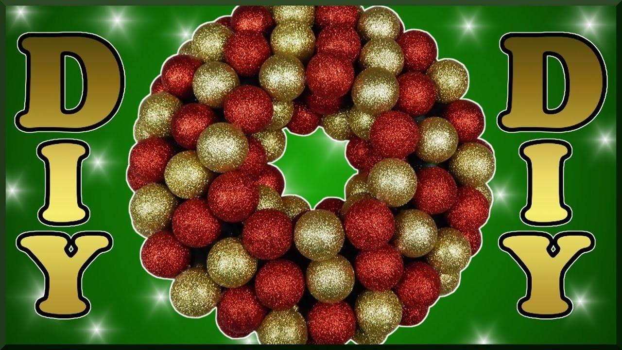DIY xmas   Weihnachten Türkranz aus Kugeln basteln   Christmas wreath with christmas ball ornaments