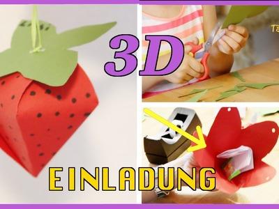 """3D EINLADUNG """"Erdbeere"""" für Kindergeburtstag selber machen. Birthday invitations 3D. TäglichMama"""