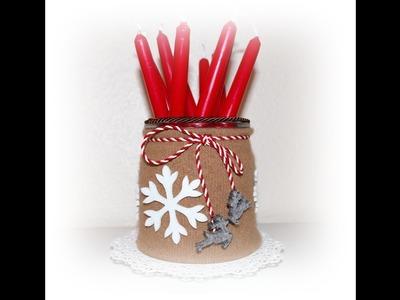 Großmutter Käthe DIY Winter Deko  Weckglas dekorieren für Kerzenvorrat