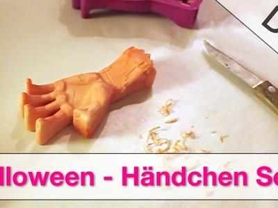 DIY Bastelidee - Halloween Händchen Seife selber machen in Gießform