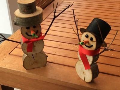 Holz-Schneemänner DIY