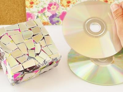 Kleine Box mit CD Resten bekleben | Coole Aufbewahrung oder Geschenk Box | Origami Idee