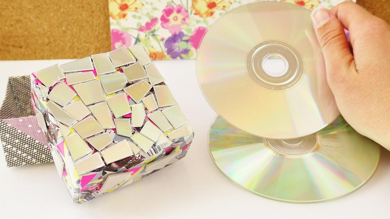 Kleine Box mit CD Resten bekleben   Coole Aufbewahrung oder Geschenk Box   Origami Idee