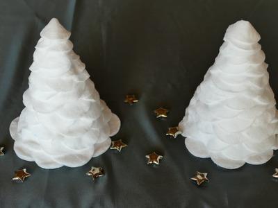 Weihnachtsbasteln, Tannenbaum aus Wattepads, super einfach