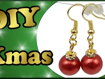 DIY xmas | Weihnachten Perlenohrringe selber basteln | Christmas tree ornaments earrings with pearls