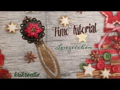 Weihnachtsstern Lesezeichen Fimo *Tutorial* Winter rose Bookmark - Krikreativ