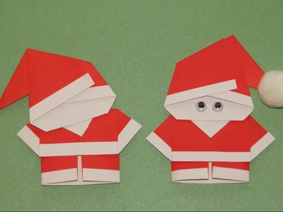 Basteln zu Weihnachten: Weihnachtsmann falten (Origami)