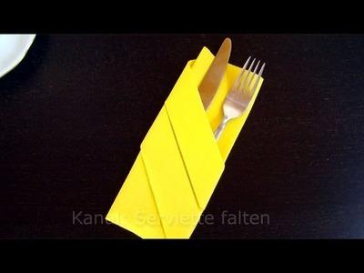 Servietten falten: Bestecktasche - Einfache Anleitung - Tisch dekorieren