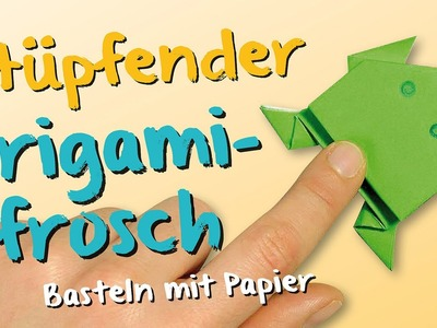 Origami. Basteln mit Papier - hüpfender Frosch