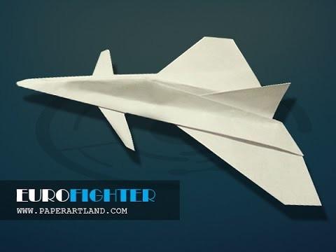 papierflieger selbst basteln papierflugzeug falten beste origami flugzeug eurofighter. Black Bedroom Furniture Sets. Home Design Ideas
