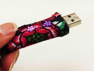 USB Stick gestalten | Individueller Look für deinen USB-Stick | mit Stoffresten & Glitzersteinen