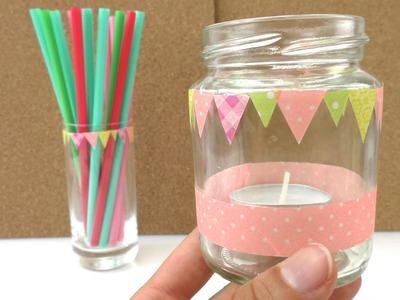 Bunte Gläser für die nächste Party, Kindergeburtstag. selber machen - mit Washi Tape