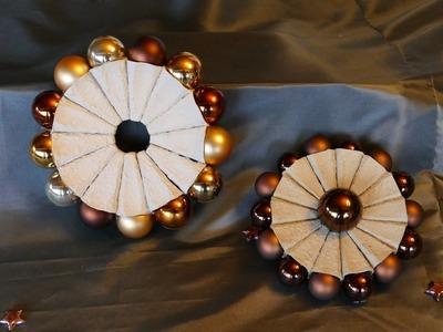 Kranz, Wandkranz, Teelichthalter mit Weihnachtskugeln und Eierschachteln basteln