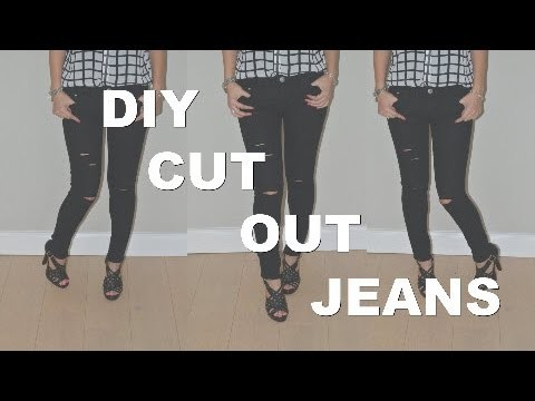DIY Ripped Knee Jeans Distressed Cut-Out | FAST & EASY