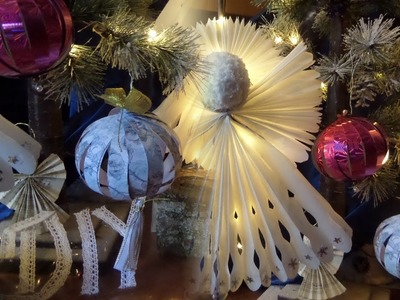 DIY: 2 PAPIER Weihnachtskugeln, Glitzer+Nostalgie DEKO-Kugel basteln,by DIY kekaplauderei