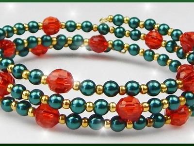 DIY xmas | Weihnachten | Perlenarmband Schmuck basteln | Christmas memory wire bracelet
