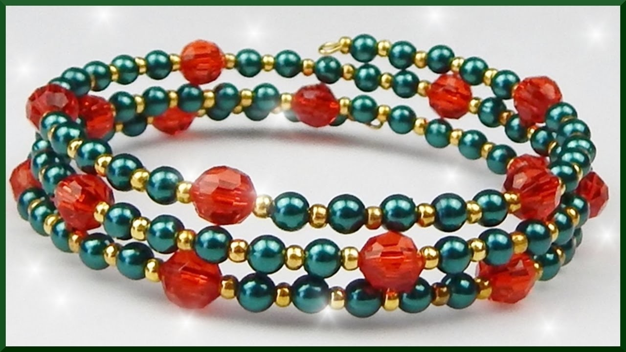 DIY xmas   Weihnachten   Perlenarmband Schmuck basteln   Christmas memory wire bracelet