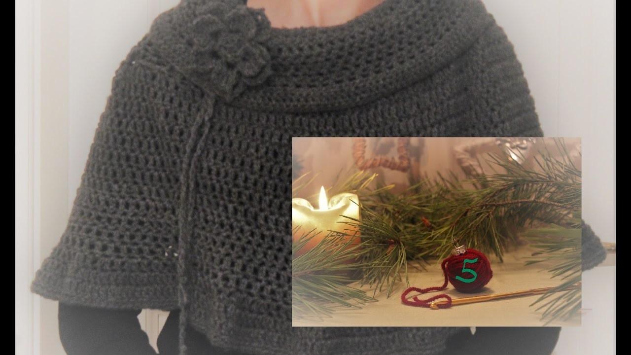 (eng. sub) Crochet Along Adventskalender 5 | Crochet Poncho. Schulterponcho häkeln
