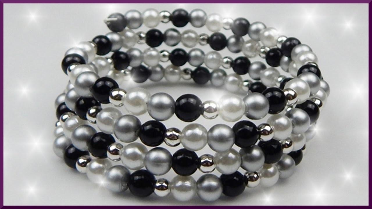Diy xmas weihnachten perlenarmband schmuck basteln christmas memory wire bracelet - Perlenarmband basteln ...