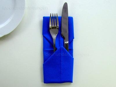 Servietten falten: Bestecktasche - Einfache Tischdeko für Weihnachten basteln - DIY