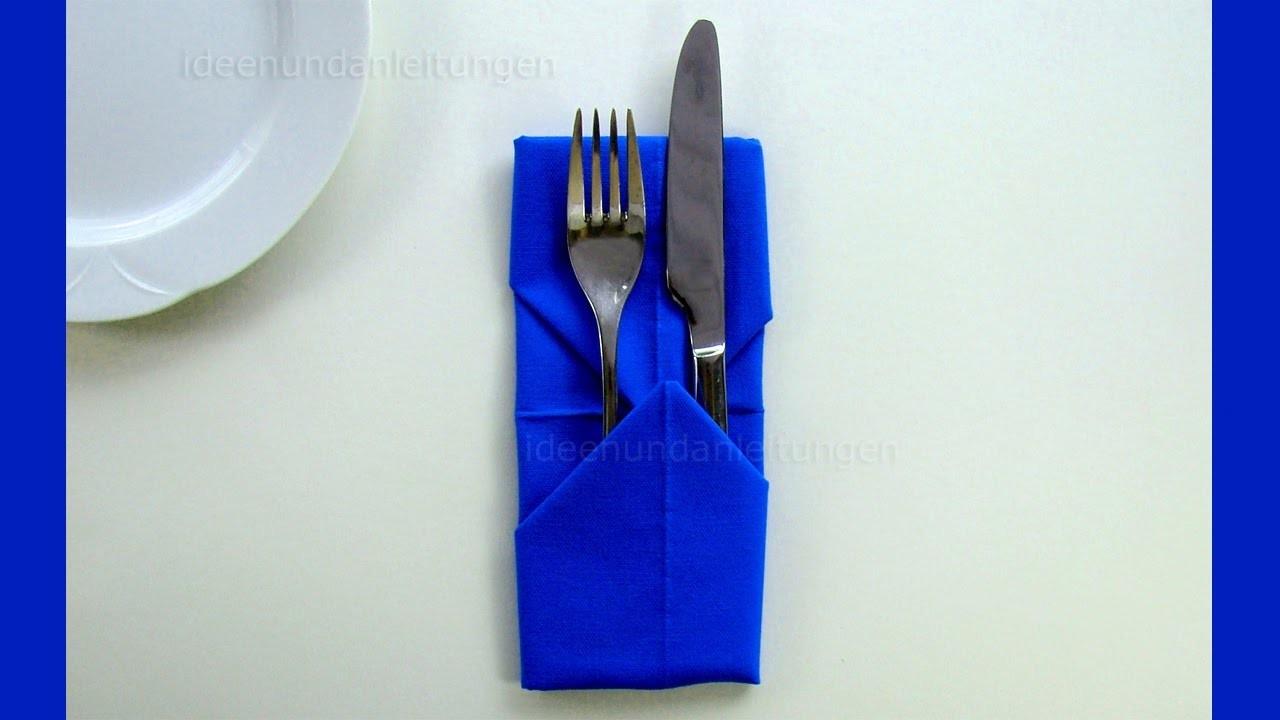 Extrem Servietten falten: Bestecktasche - Einfache Tischdeko für WU96