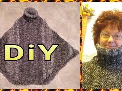 Poncho mit Rollkragen stricken •  DIY . einfach * Julebuergerfee