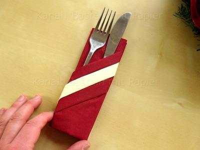 Servietten falten: Bestecktasche mit 2 Papier-Servietten basteln für Silvester. DIY Tischdeko