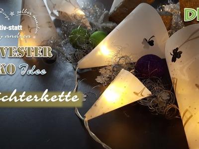 DIY DEKO Idee Silvester - Lichterkette mit transparentem Motivpapier