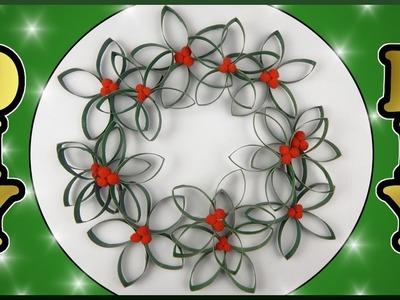 DIY | Papier Weihnachtskranz aus Klorollen | Christmas paper wreath | toilet rolls