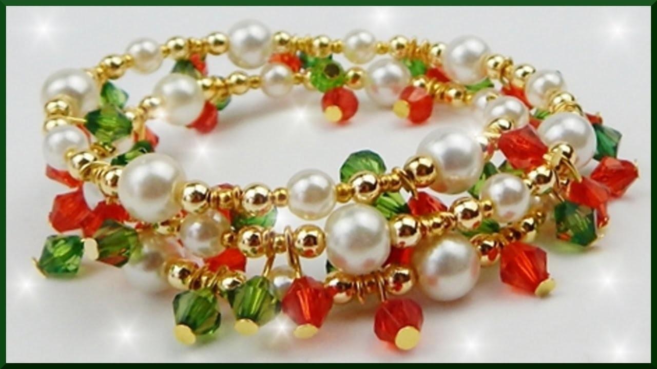 DIY xmas | Weihnachten | Perlenarmband Schmuck basteln | Christmas memory wire beaded bracelet