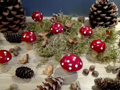 Kleine Glückspilze basteln aus Gips und Korken, DIY