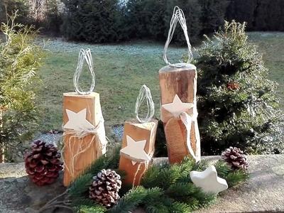 Kerze basteln aus Kaminholz und Gartendraht (Holzkerze) DIY