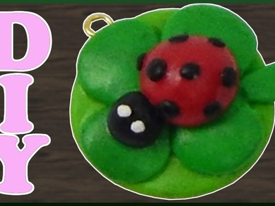 DIY | Fimo Glücksbringer Marienkäfer auf Kleebaltt | clay New year lucky charm ladybug | shamrock