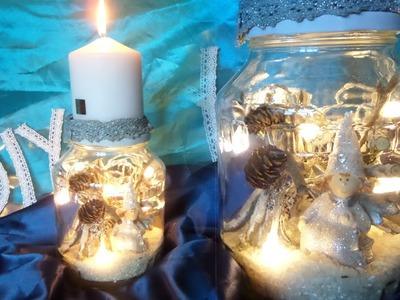 DIY: Beleuchtetes Winter DEKO GLAS mit Kerzenständer BASTELN, Upsycling by DIY kekaplauderei